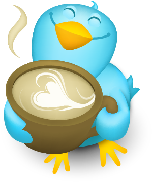 A cartoon twitter bird smiles and sniffs a cup of coffee with a heart image created in the foam.